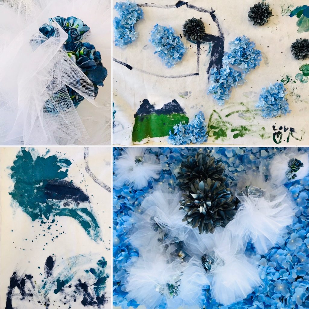 blue flower collage